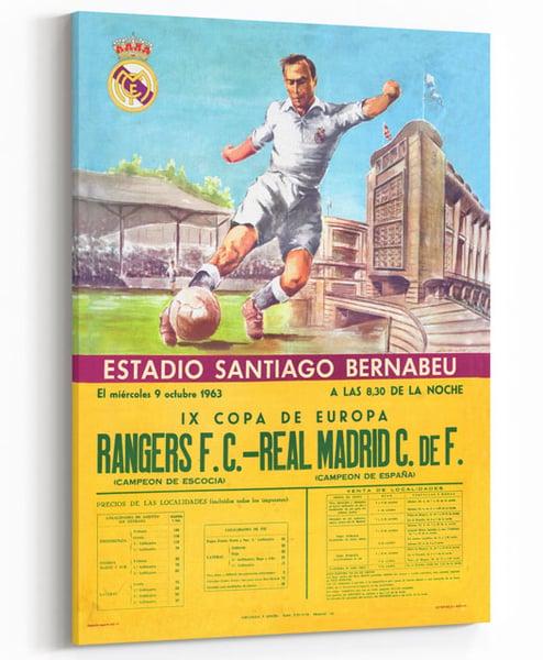 Image of Rangers v Real Madrid - Vintage 1963 Print