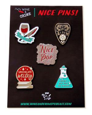Image of Wine & Crime Enamel Pin Set