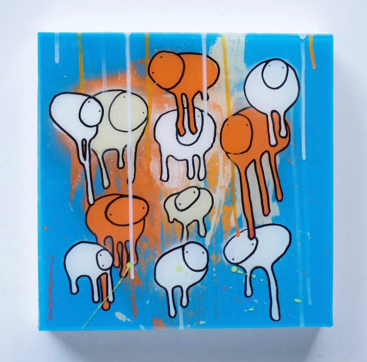 "Image of Raining Cows, ""CITRUS DROP"" 12""X12"" 2019"