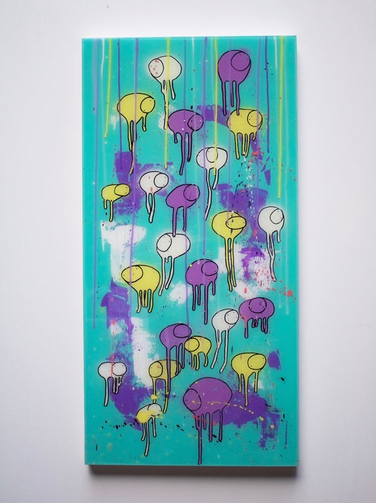 "Image of Raining Cows, ""LEMON CHELLO DROP"" 18""X36 2019"