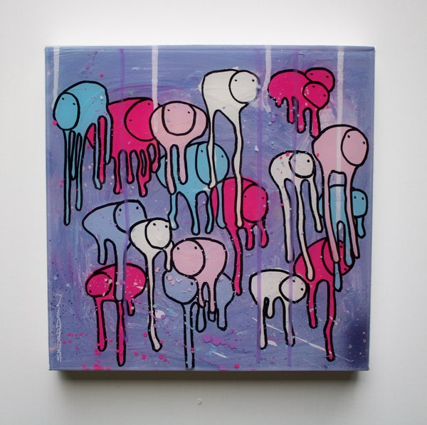"Image of Raining Cows, ""PURPLE PERFECTION"" 12""X12"" 2019"