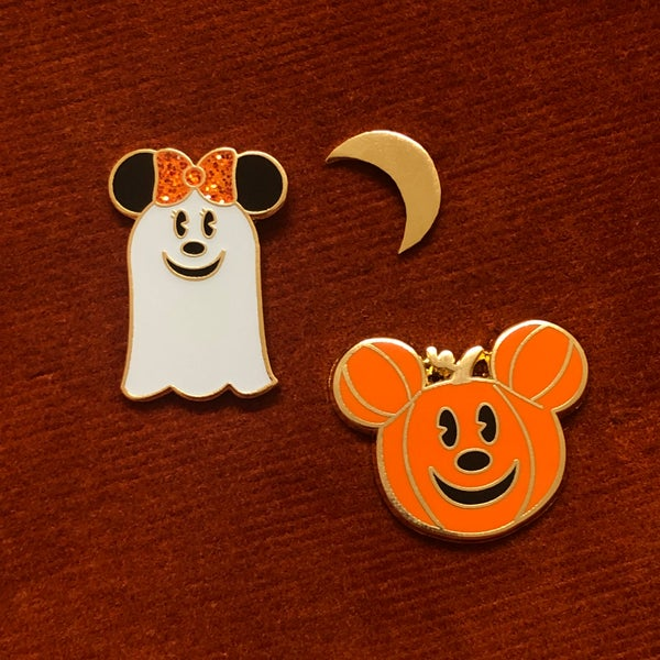 Image of MOUSE GHOSTY & PUMPKIN Enamel Pins