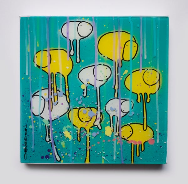 "Image of Raining Cows, ""YELLOW DROP LEAF"" 12""X12"" 2019"