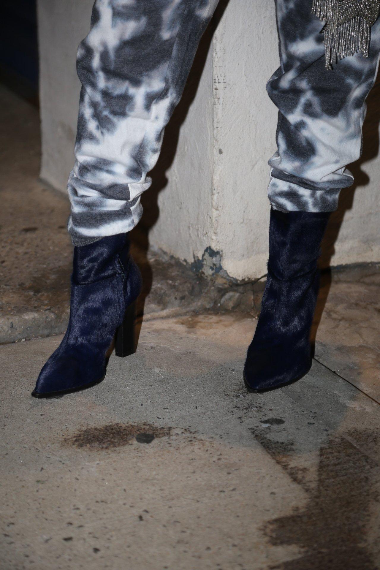 Image of KAREN GALLO PONY HAIR BOOT- NAVY BLUE