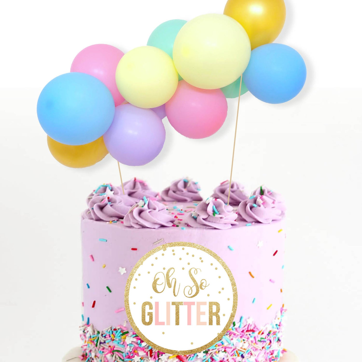 Image of Mini Balloon Cake Garland - Pastel Rainbow