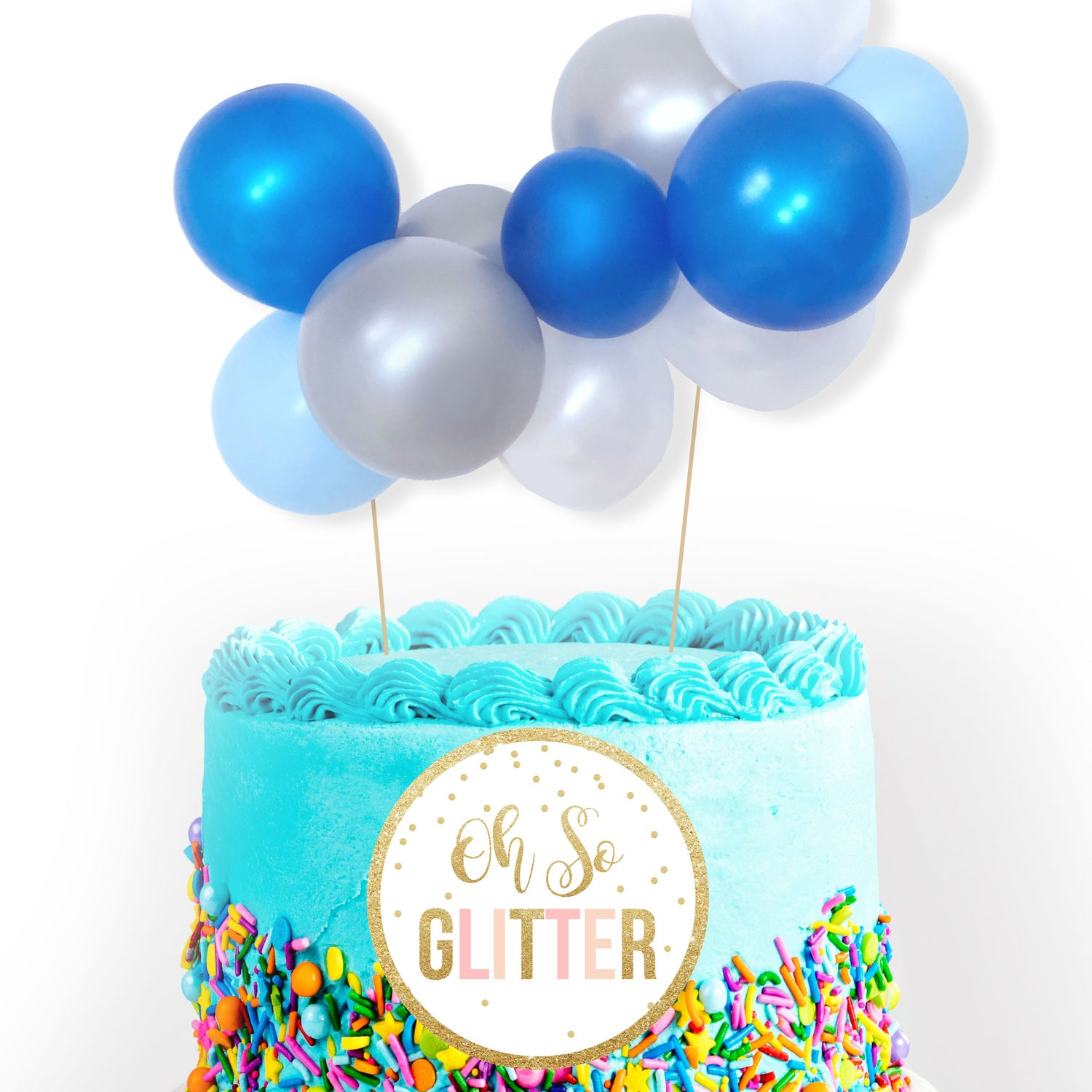 Image of Mini Balloon Cake Garland - Blue and Silver