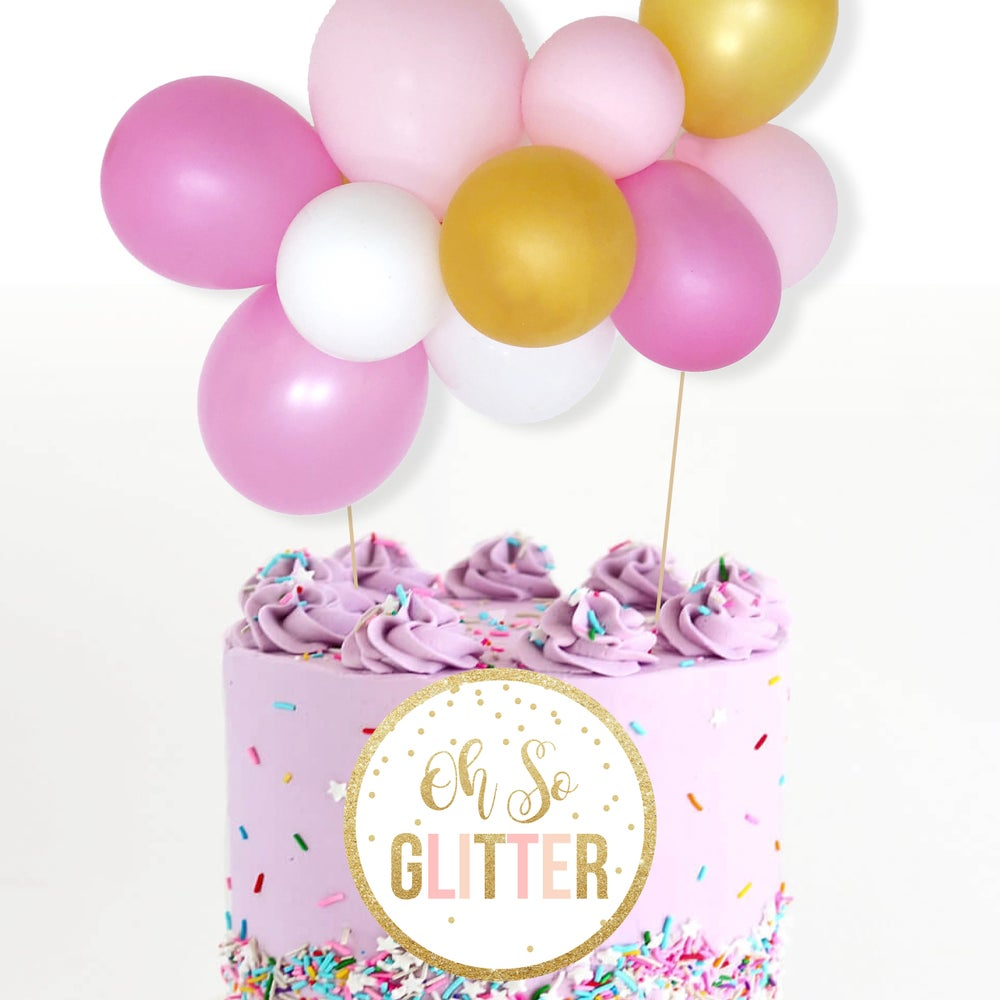 Image of Mini Balloon Cake Garland - Pink and Gold
