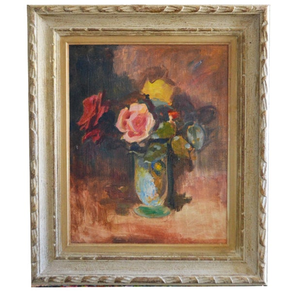 Image of 1940's, Swiss Painting, 'Rose Bouquet,' Karl Weber