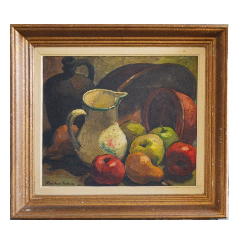 Image of 1950's  French Still Life, 'Jug and Apples.' Marie-Louise MARESCQ