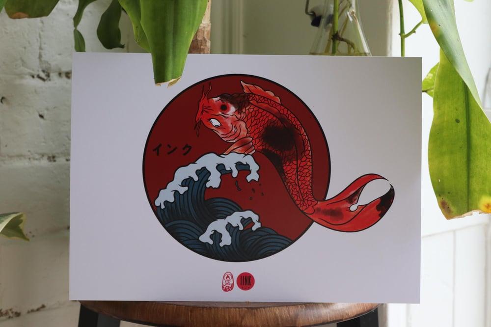 Image of Koi With Waves Print