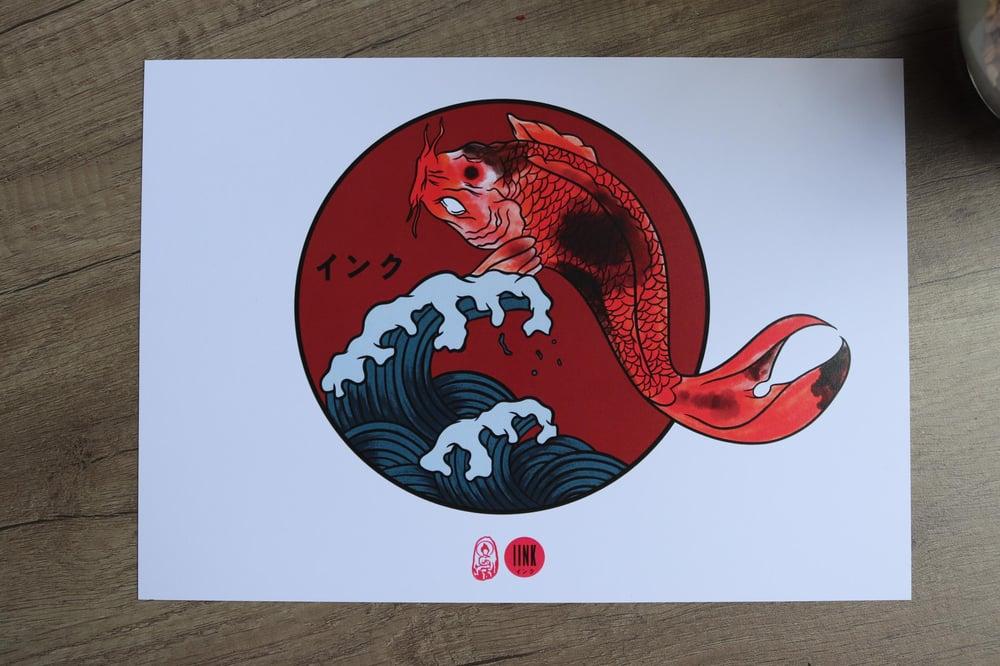 Koi With Waves Print