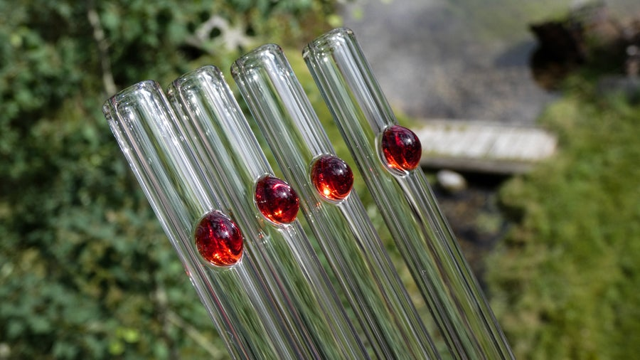 Image of Clear Glass Straw with Colored Dot