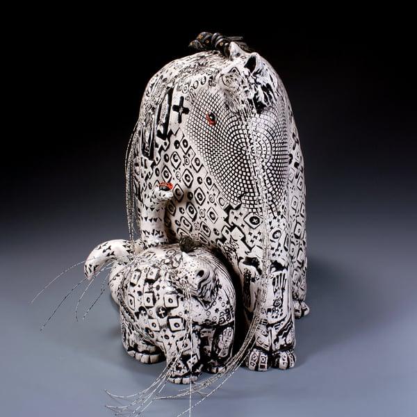 Image of Ceramic Cat Sculpture - Big Momma