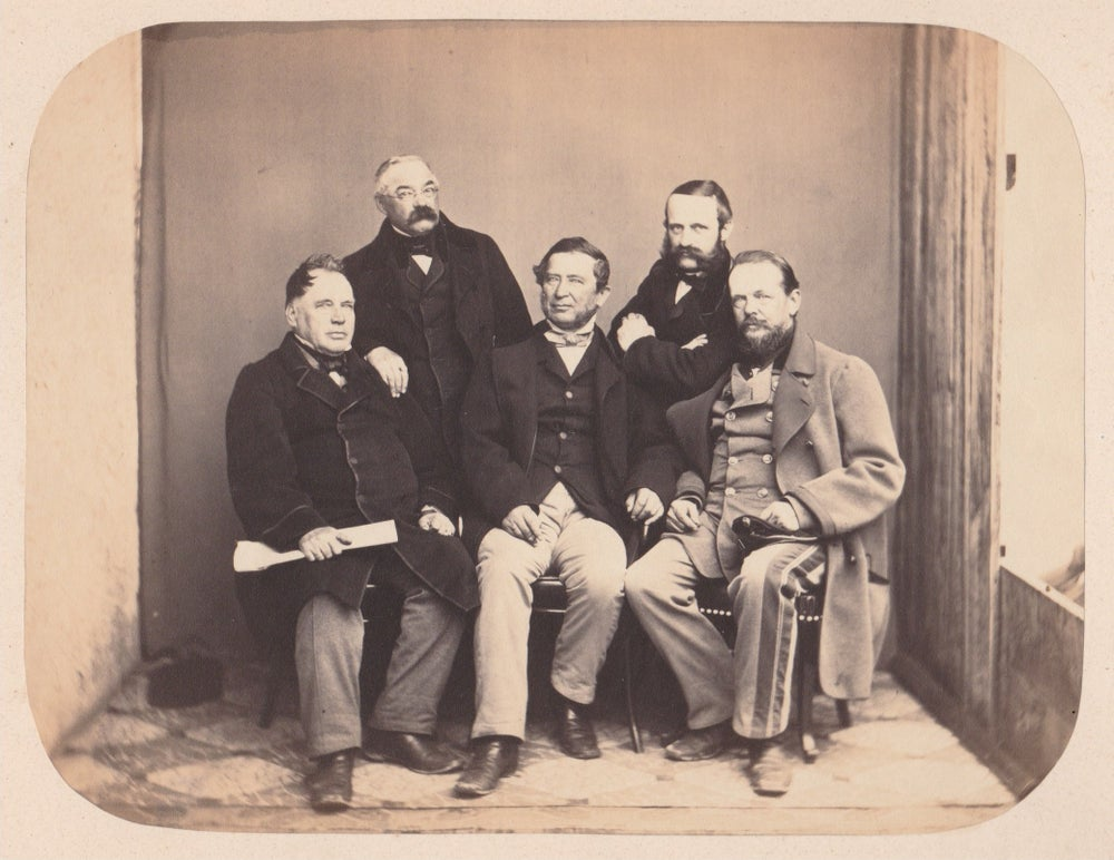 Image of Albumen portrait of five men, ca. 1860