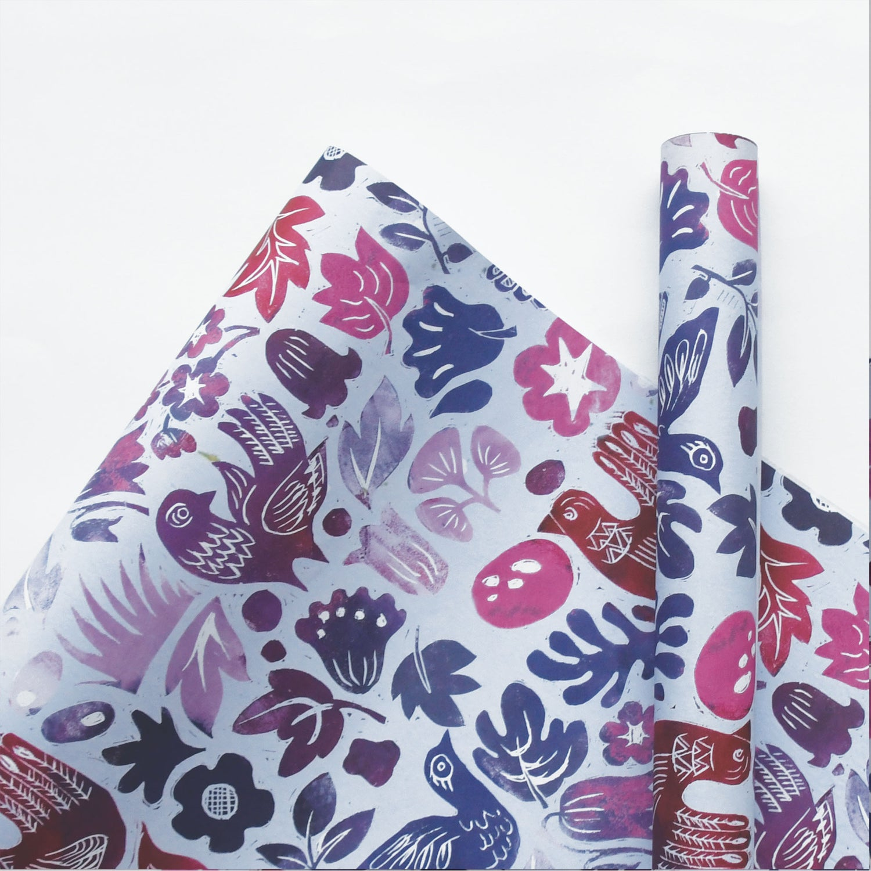Image of Blockbird Damson Wrapping Paper
