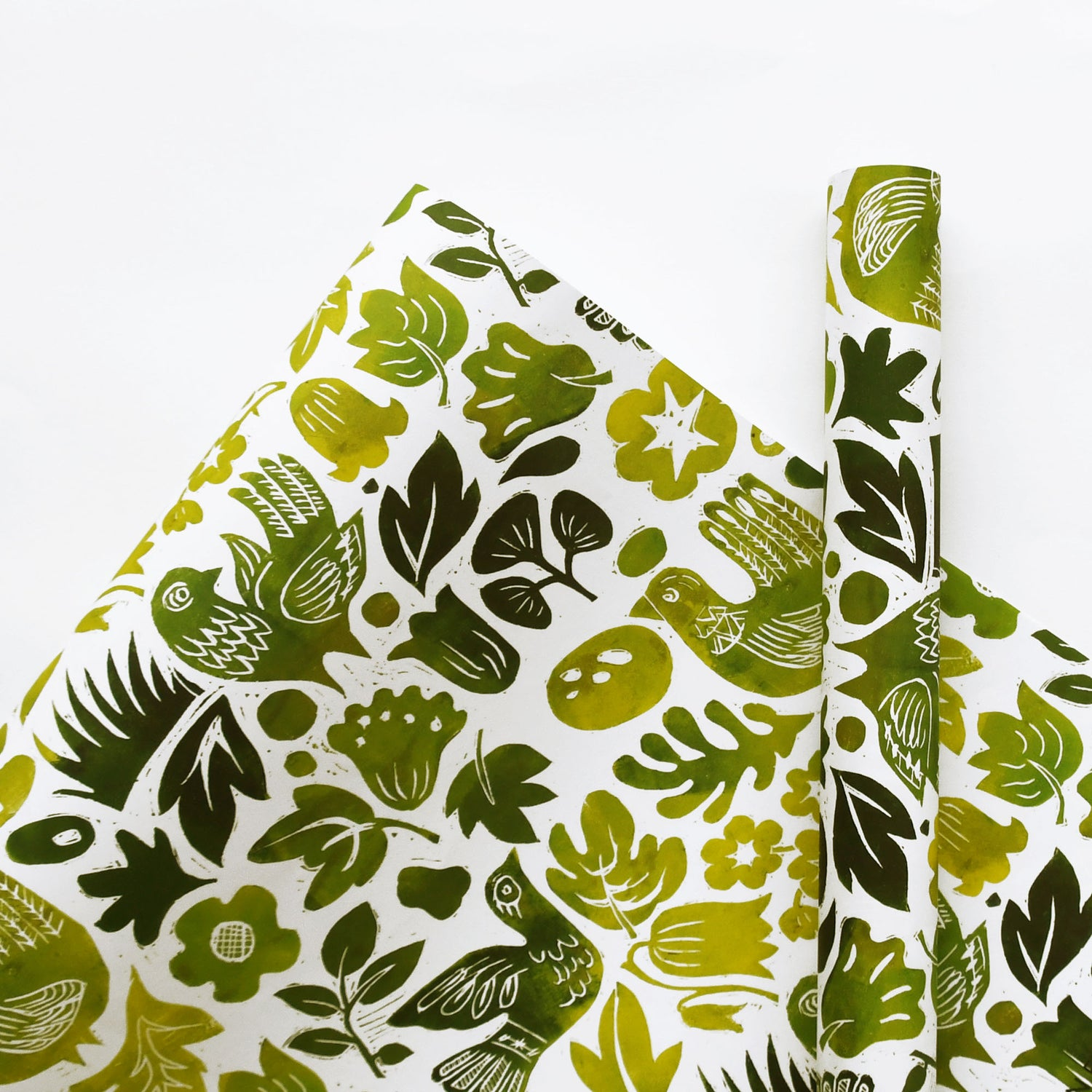 Image of Blockbird Green Wrapping Paper