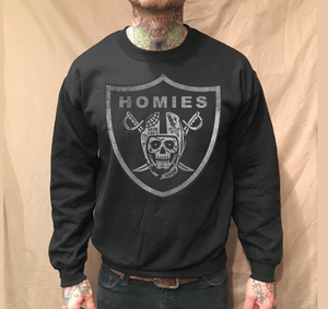 Image of SKULL HOMIES ON BLACK SWEATER