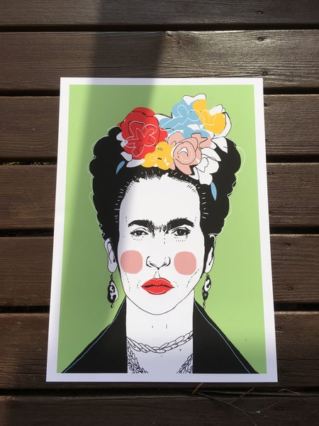 Image of Frida Kahlo grønn
