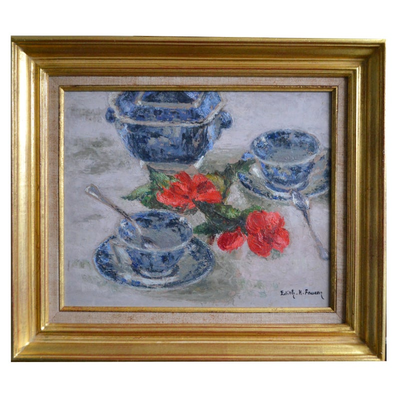 Image of Mid-century, French Painting,' Tea for Two,' Edith Fausson