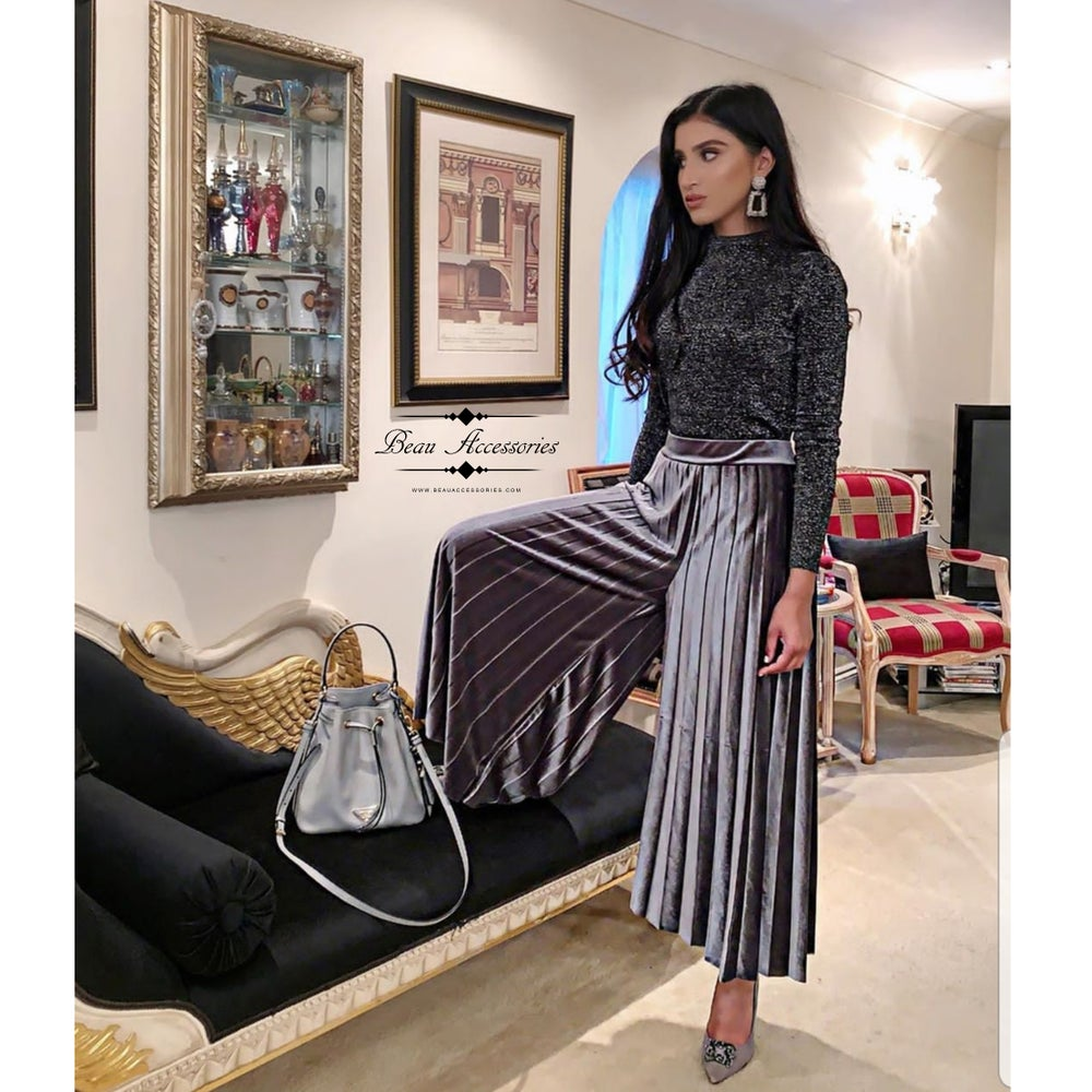 Image of Velvet Pleated Wide Leg Palazzo Pants (ALL COLOURS)