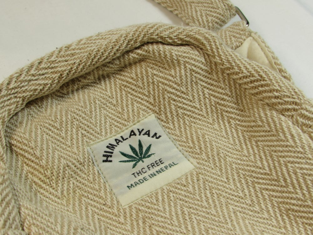 Organic Hemp Day Pouch - Natural | 100% Vegan | Eco Friendly | Handmade | Crossbody Festival Bag | H