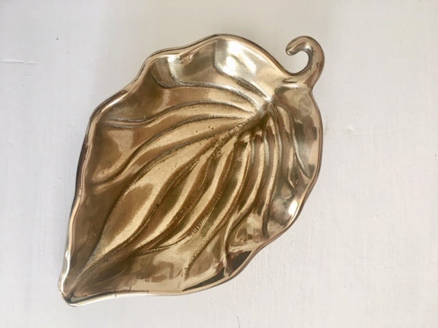 Image of Small Brass Leaf Dish