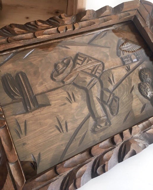 Image of Vintage Hand Carved Mexican Tray