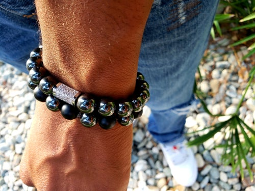 Image of Power Energy Set | Black Onyx & Hematite | Strength | Leadership | Positive | Power