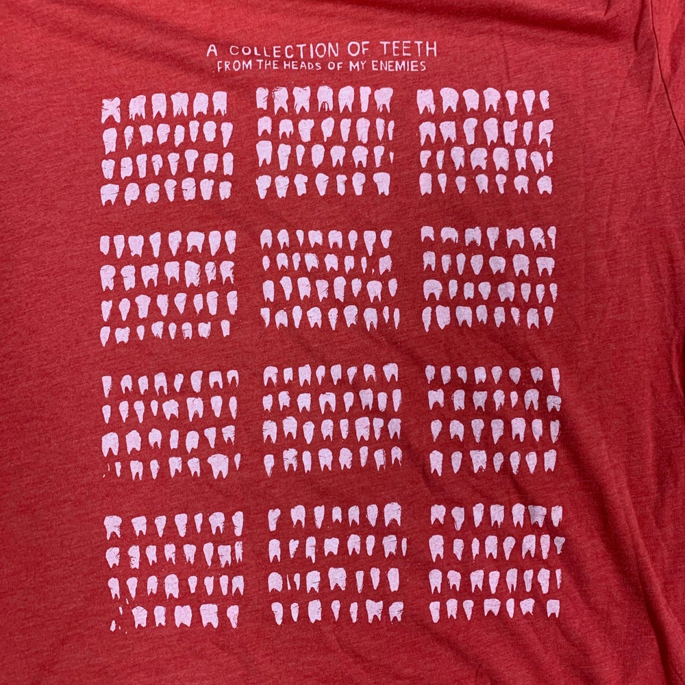 "Image of ""A Collection of Teeth from the Heads of My Enemies"" Mondocon RED T-Shirts"