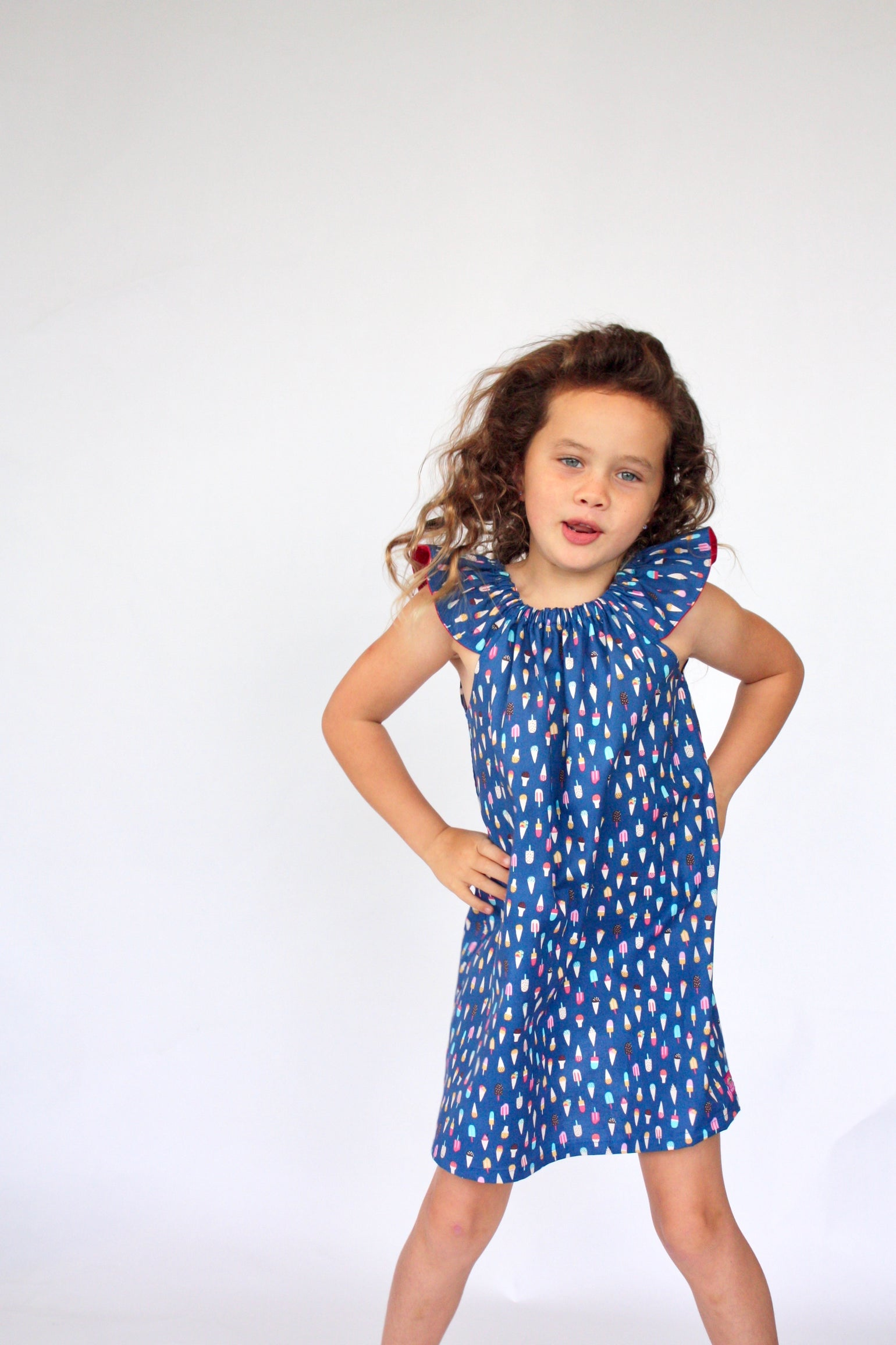 Image of Flutter Sleeve Dress in Popsicle