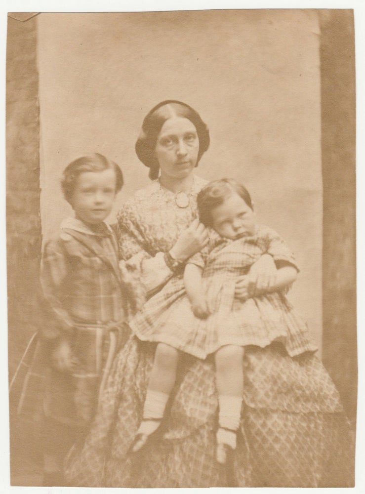 Image of Anonymous: salt print of a woman and two children, UK ca. 1855