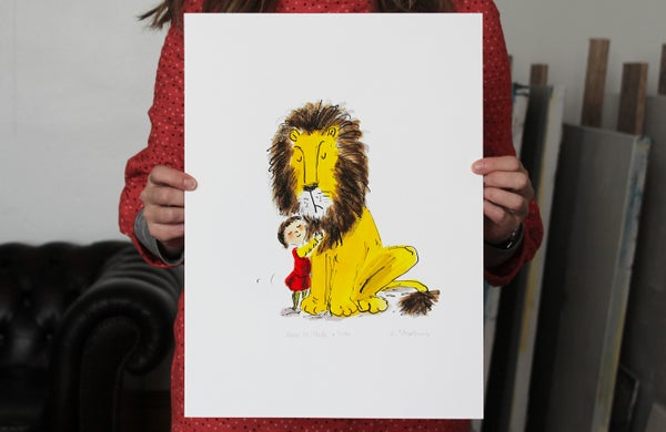 Image of How to Hide a Lion signed giclée - The Lion Was Worried