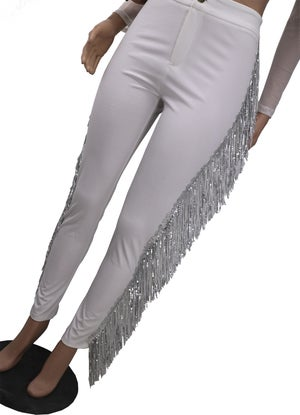 "Image of ""Spotlight"" White Fringe Pants"