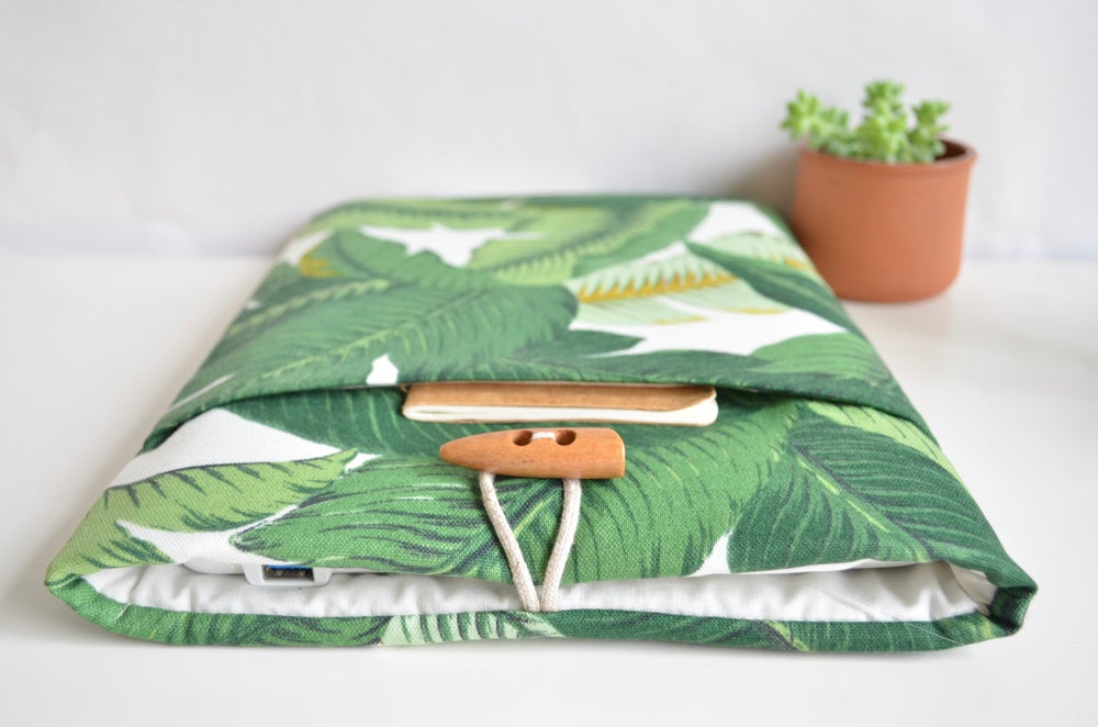 Image of Tropical Fern Laptop Sleeve, Tablet Sleeve Case, Fit any MacBook Air, Pro, iPad, Surface Pro, Kindle