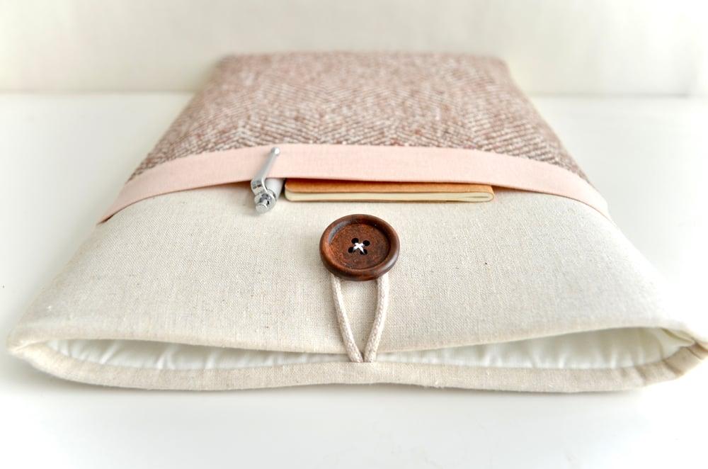 Image of Herringbone + Pink Laptop, eReader, iPad Sleeve Case