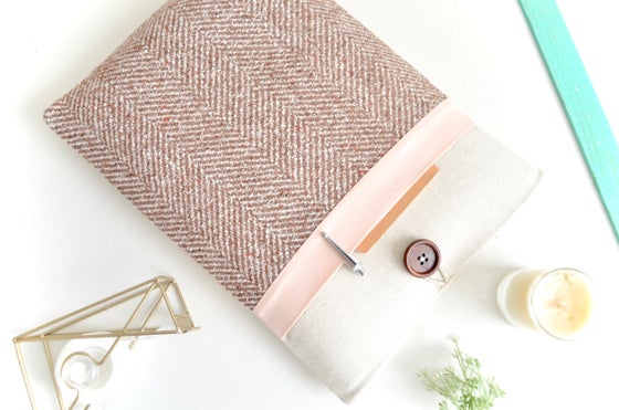 Image of Herringbone + Pink Laptop, eReader, iPad Sleeve Case