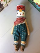 "Image of Pumpkinhaus Peggy - 8"" Handmade Art Doll -  Soup Can Teal Pants"