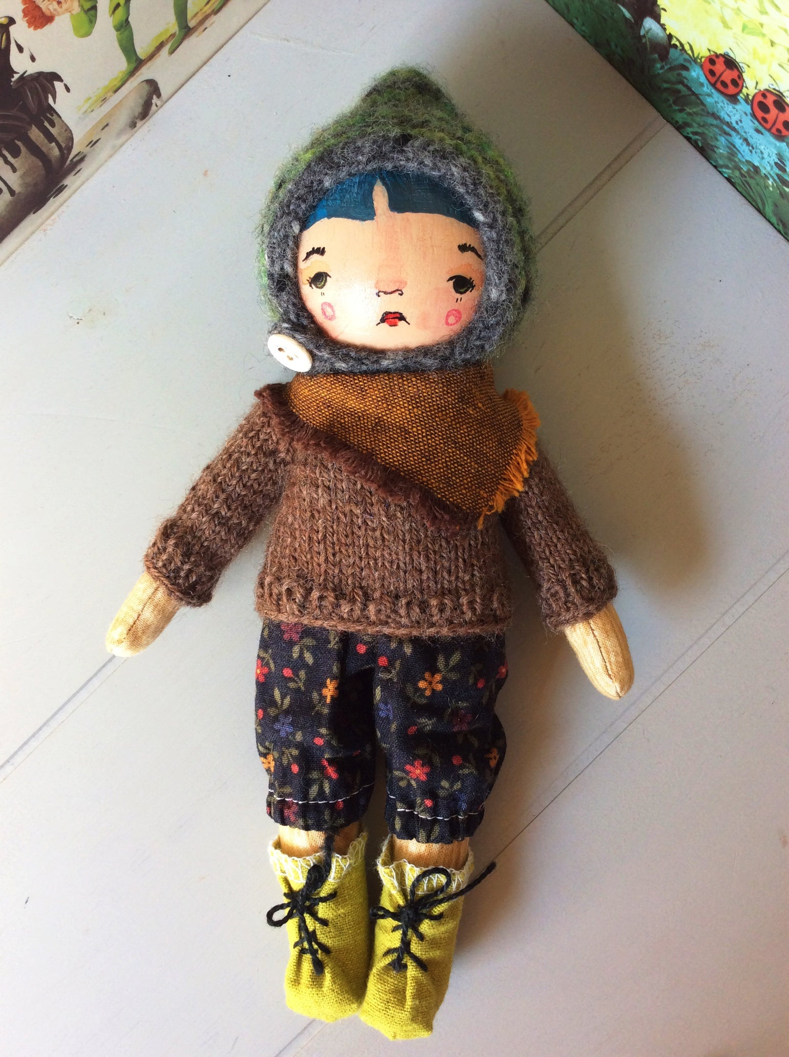 "Image of Pumpkinhaus Peggy - 8"" Handmade Art Doll - Woodland Madchen Blue Hair"