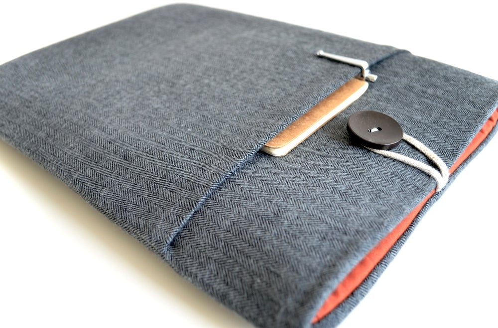 Image of Charcoal Herringbone MacBook Sleeve Case, Custom Fit any Laptop, Surface Pro, iPad, Tablet, eReader