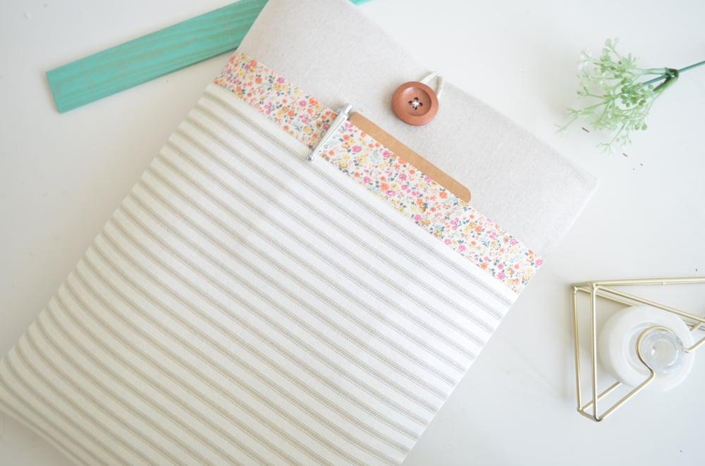 Image of Stripes + Floral Laptop or Tablet Sleeve Case