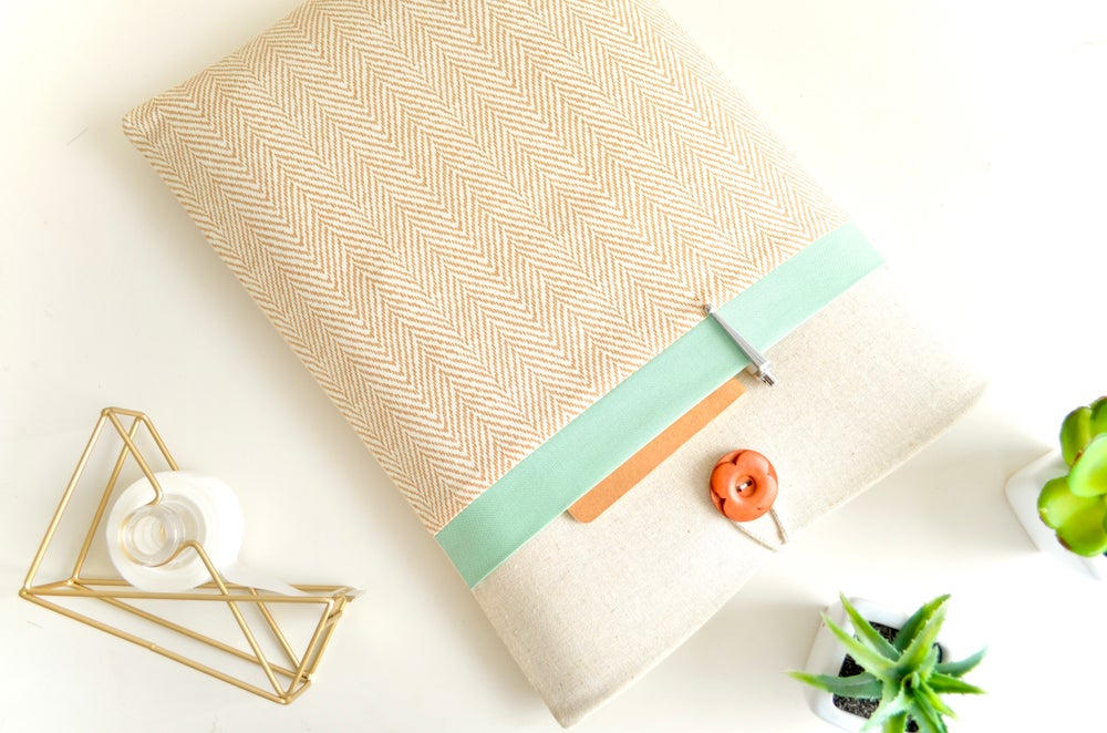 "Image of Tan + Seafoam Custom iPad, Tablet, Kindle Cover, MacBook Air or Pro Sleeve 13"", 15"" Laptop Case"