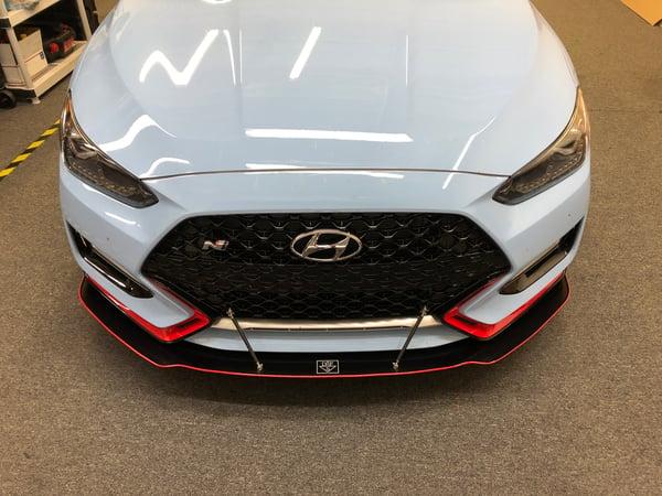 """Image of 2019  Hyundai Veloster """"V1"""" front splitter"""