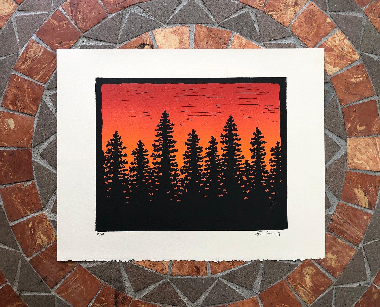 Image of Tree line silhouette prints
