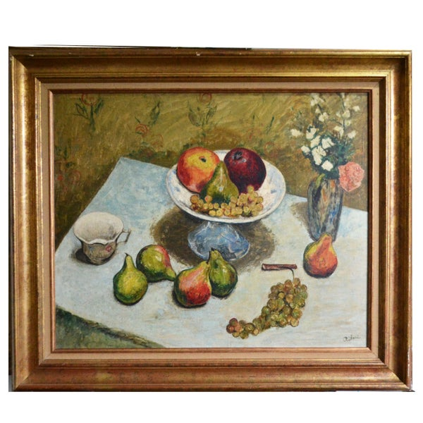 Image of Mid-century, Large French Painting, 'Pears and Grapes.'