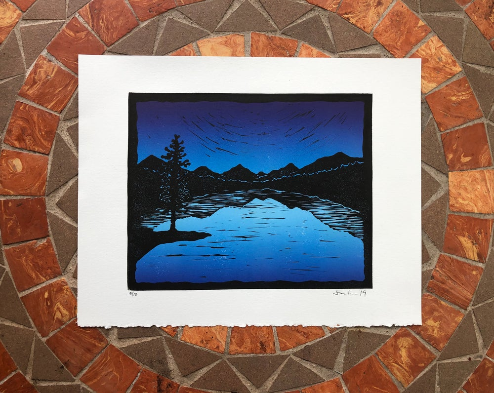 Image of Mountain Lake silhouette prints