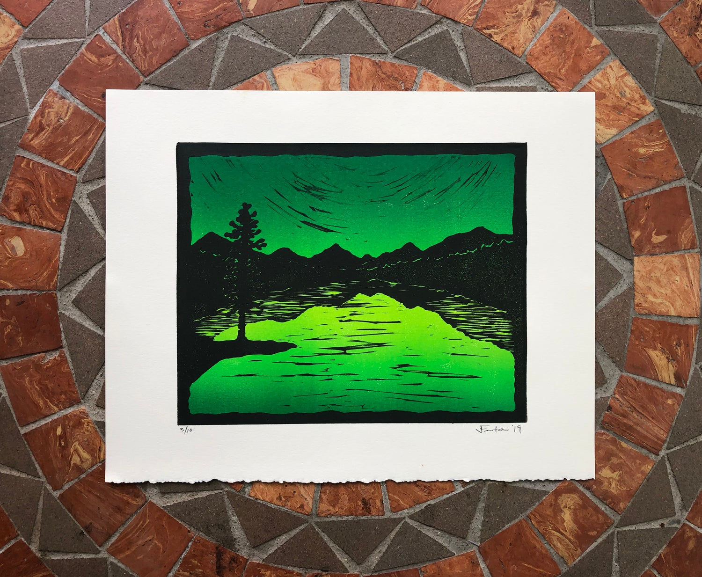Image of Mountain Lake silhouette prints
