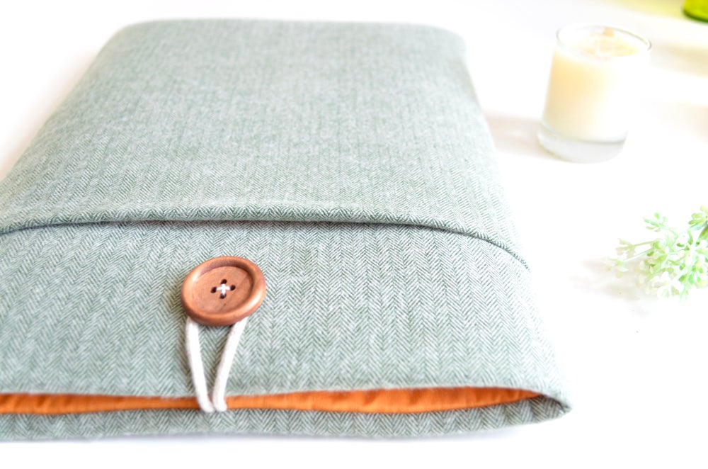 Image of Flannel and Orange Laptop Case, Tablet Case, iPad, Kindle Sizes Available, Made to Order