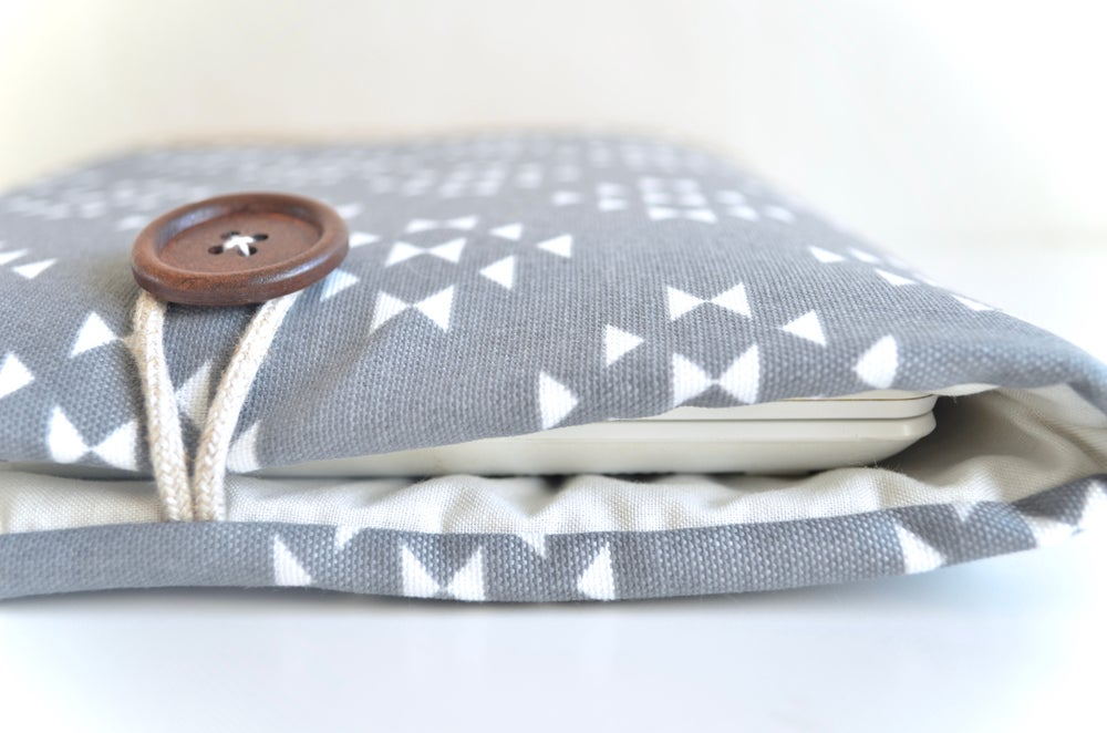 Image of Faux Suede Base and Aztec Custom Size Laptop or Tablet Sleeve, Padded, Made to Fit