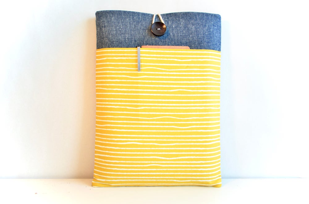 Image of Yellow Stripes Laptop Sleeve, Custom sized tablet, ereader, MacBook, iPad, Kindle Case