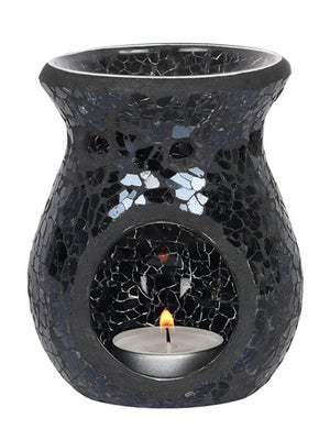 Image of SMALL CRACKLE GLASS OIL BURNER Black